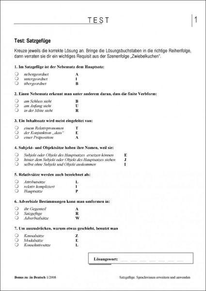 Test und Klassenarbeit: Satzgefüge (Klasse 7/8)