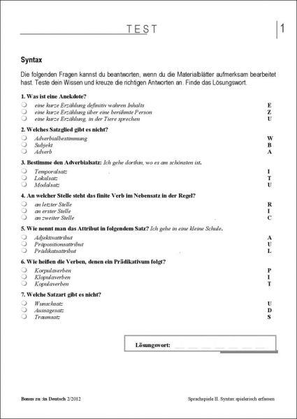 Test und Klassenarbeit: Sprachspiele II (5/6)