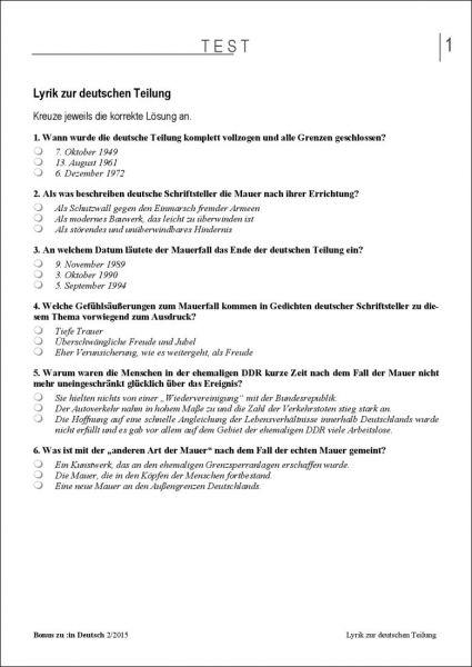 Test und Klassenarbeit: Lyrik zur deutschen Teilung