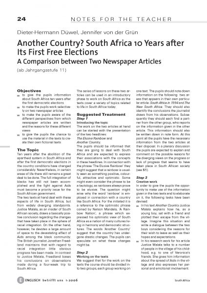South Africa 10 Years after Its First Free Elections