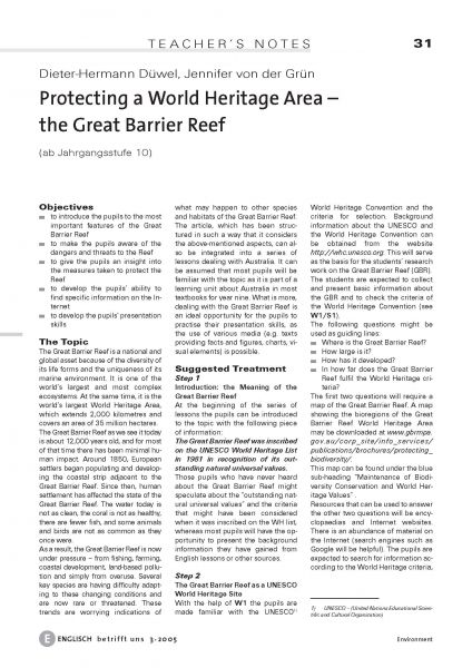Protecting a World Heritage Area - the Great Barrier Reef