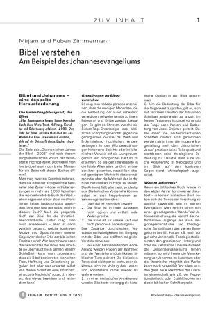 Bibel verstehen - Am Beispiel des Johannesevangeliums