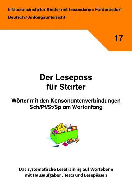 Der Lesepass für Starter: Wörter mit den Konsonantenverbindungen Sch/Pf/St und Sp am Wortanfang!