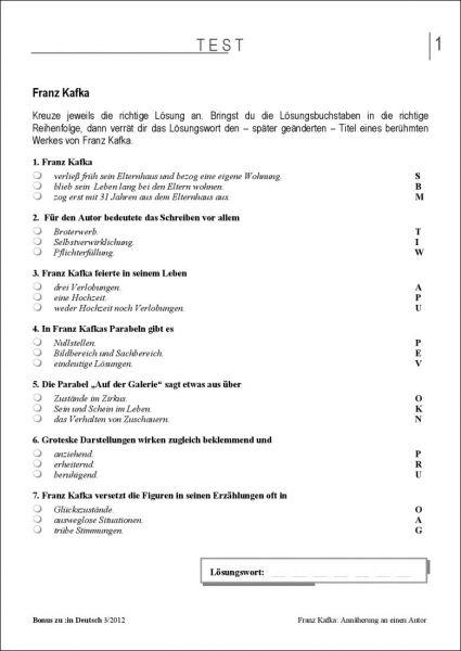 Test und Klassenarbeit: Franz Kafka (Klasse 9/10)
