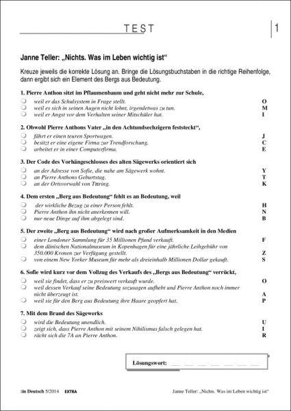 """Test und Klassenarbeit - Janne Teller: """"Nichts. Was im Leben wichtig ist"""""""