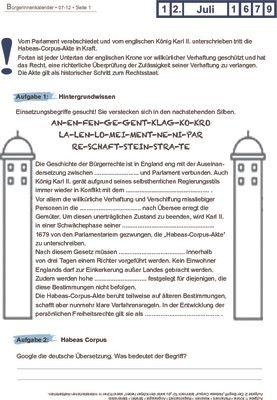 Habeas-Corpus-Akte tritt in Kraft - 12.07.1679