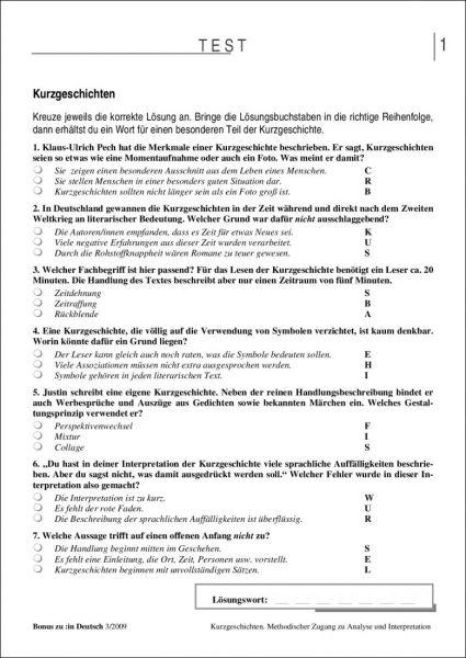 Test und Klassenarbeit: Kurzgeschichten (9/10)