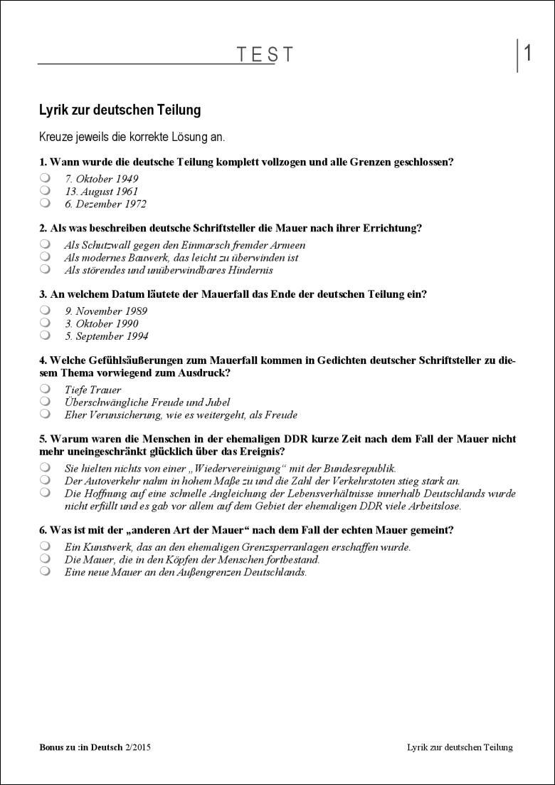 Test Und Klassenarbeit Lyrik Zur Deutschen Teilung
