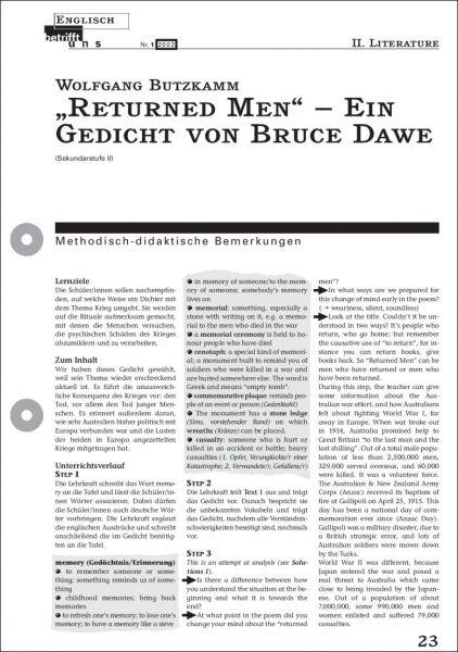 """""""Returned Men"""" - Ein Gedicht von Bruce Dawe"""