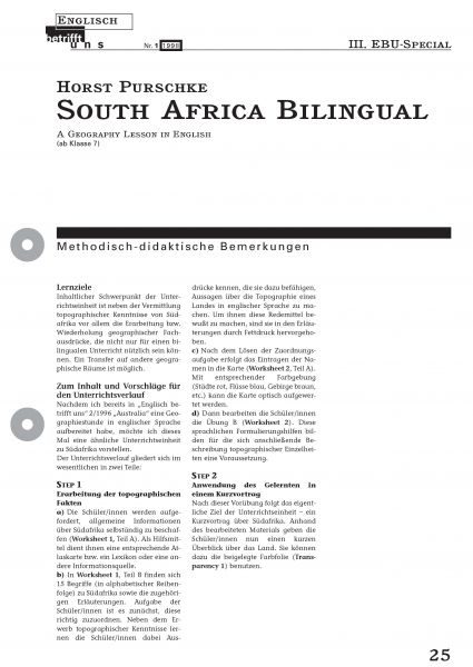 South Africa Bilingual - A Geography Lesson In English