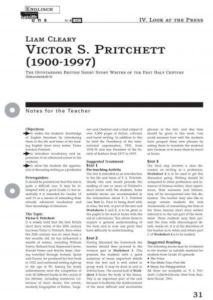 Victor S. Pritchett - An Outstanding British Short Story Writer