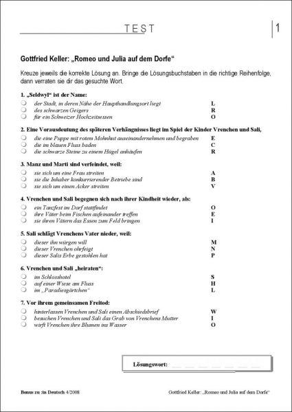 """Test und Klassenarbeit: """"Romeo und Julia auf dem Dorfe"""" (Klasse 7/8)"""