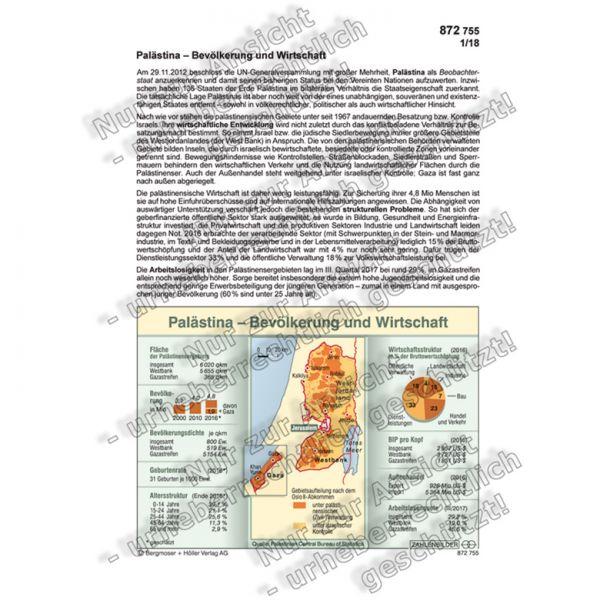 Palästina - Bevölkerung und Wirtschaft