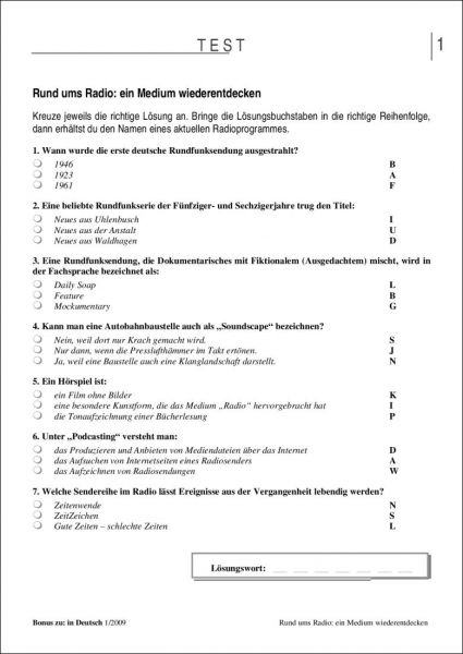 Test und Klassenarbeit: Rund ums Radio (Klasse 7/8)