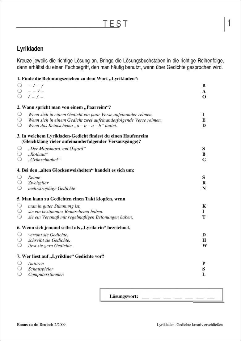 Test Und Klassenarbeit Lyrikladen Klasse 56