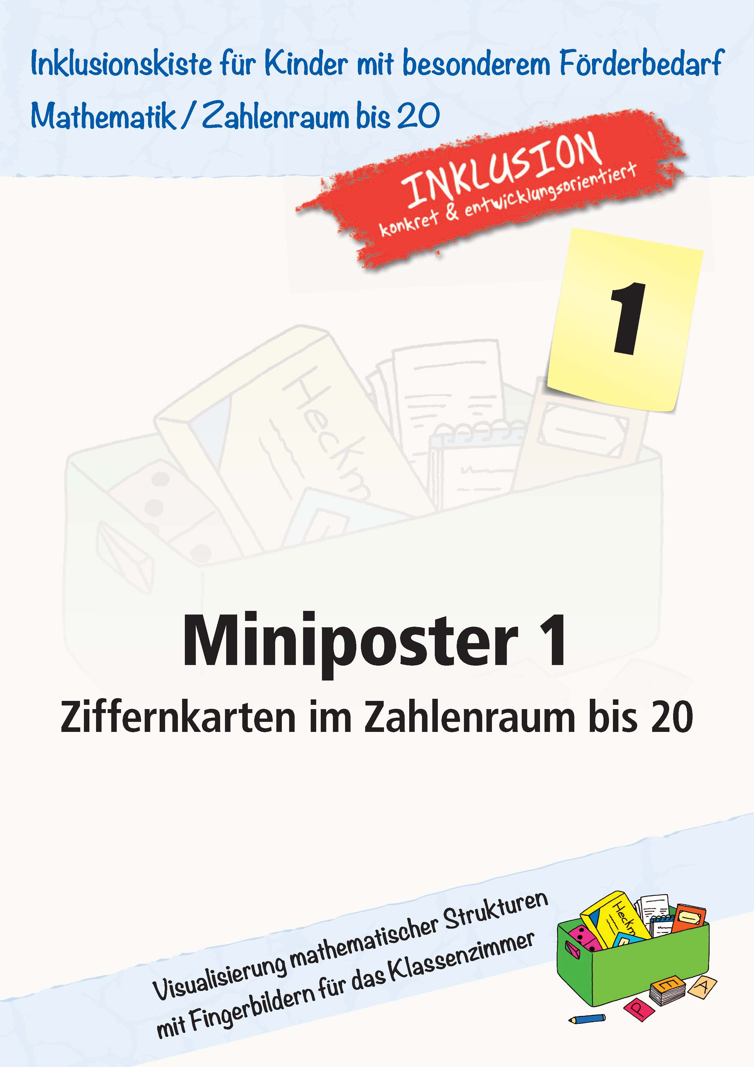 miniposter 1 ziffernkarten im zahlenraum bis 20 inklusionskiste mathematik grundschule. Black Bedroom Furniture Sets. Home Design Ideas