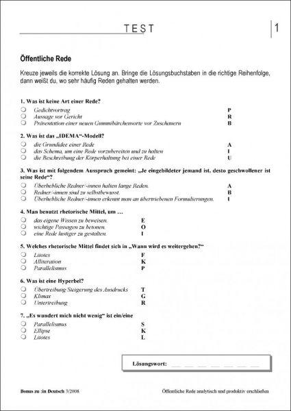 Test und Klassenarbeit: Öffentliche Rede