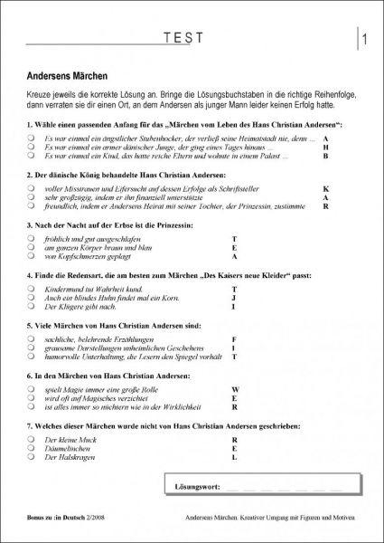 Test und Klassenarbeit: Andersens Märchen (Klasse 5/6)