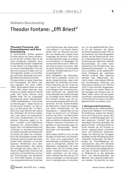 """""""Effi Briest"""" - Primärverständnis, Psychografie, Deutungs- und Adaptionsversuche"""