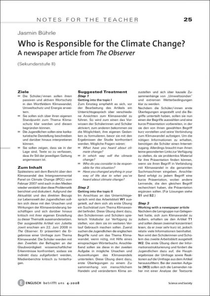 Who is Responsible for the Climate Change? - A newspaper article