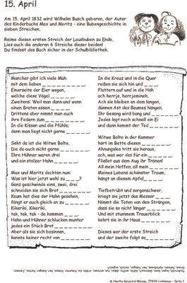 Wilhelm Busch geboren - 15.04.1832