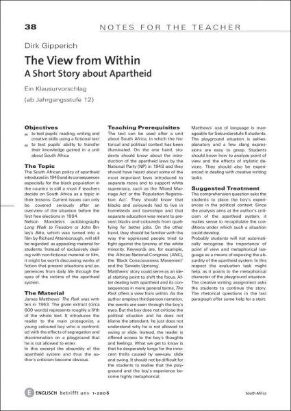A Short Story about Apartheid. Ein Klausurvorschlag