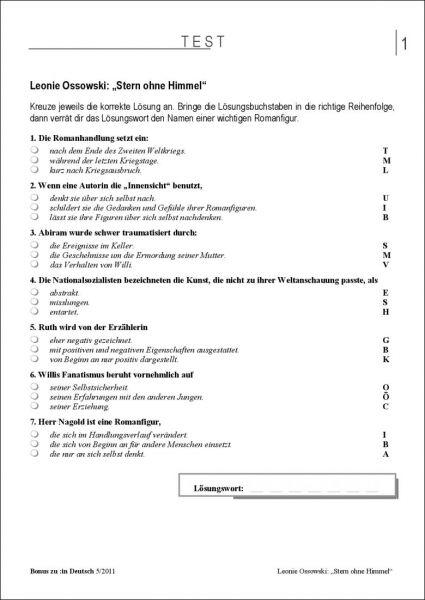 """Test und Klassenarbeit: """"Stern ohne Himmel"""" (Klasse 7/8)"""