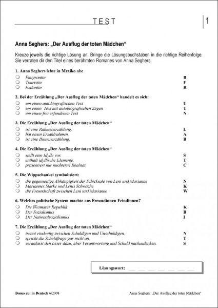 Test und Klassenarbeit: Der Ausflug der toten Mädchen (Klasse 9/10)