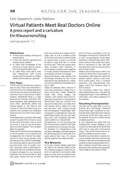 Virtual Patients Meet Real Doctors Online - Ein Klausurvorschlag